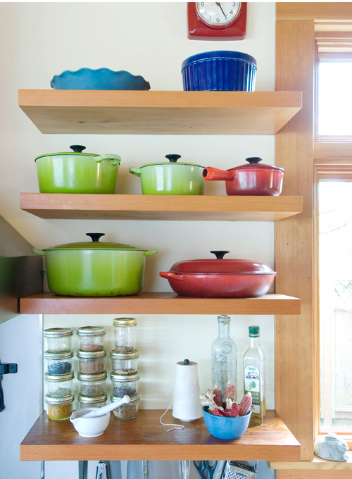 Open storage is part of the kitchen's charm.