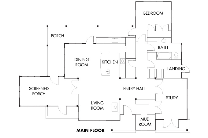 Floorplan for main floor.