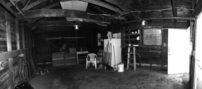 The 20x16-foot Snyder/Martin garage before it was remodeled Dark and useless.
