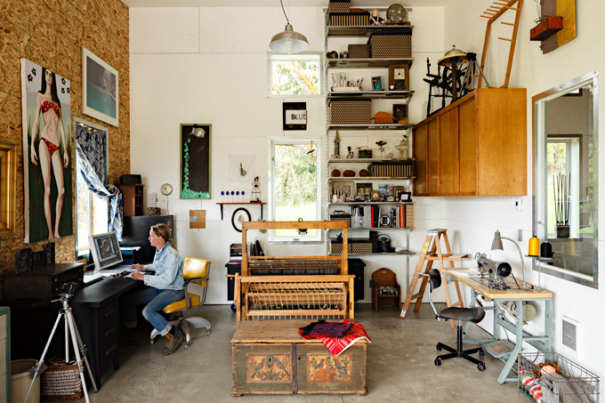 Sarah Peterman in her 2,800-square-foot workshop, which includes her art studio.