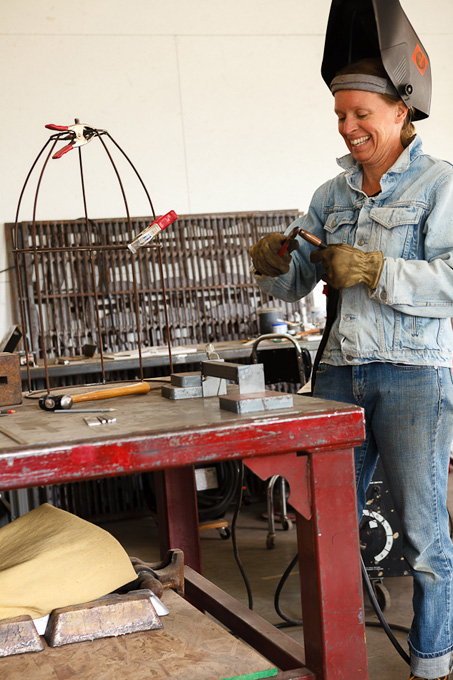 Sarah Peterman is a metalworks artist; many of her pieces adorn her house and property.