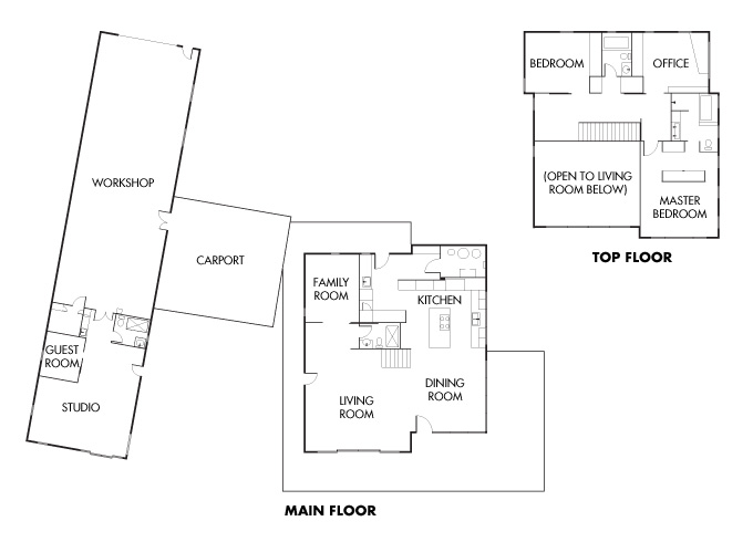 Floor plans for the Peterman/Gift home.