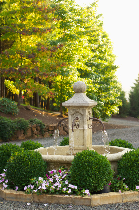 An elegant water feature on the grounds of the Taylor home.