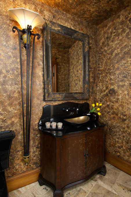 Burnished beauty in a powder room.