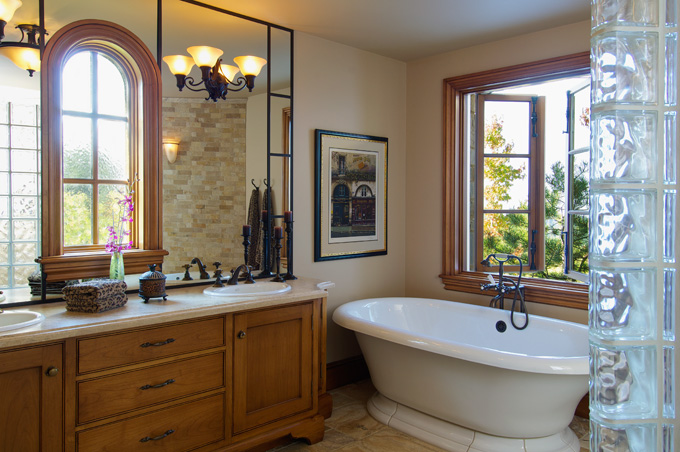 A breathtaking view can be had while soaking in the tub .