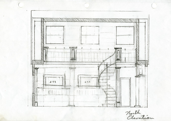 Drawing of the interior of the library with its spiral wrought iron stairs and railing on upper floor.