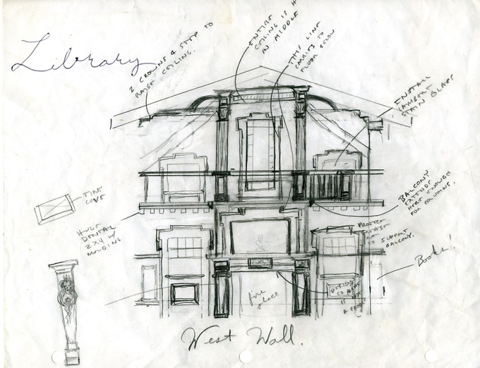 A more detailed sketch of the west wall of the library shows the idea of the spilt chimney flue evolving.