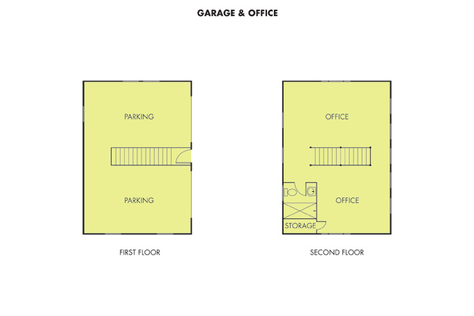 The garage can hold four small vehicles and the space above with a bath and shower now serves as McCulloch Construction offices but could one day be rented out as an additional dwelling unit.