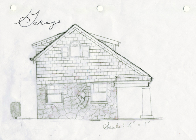 John McCulloch's sketches for his home.The rock face, shingle siding and substantial columns give the garage the look of an old carriage house and echoes the style of the original home.
